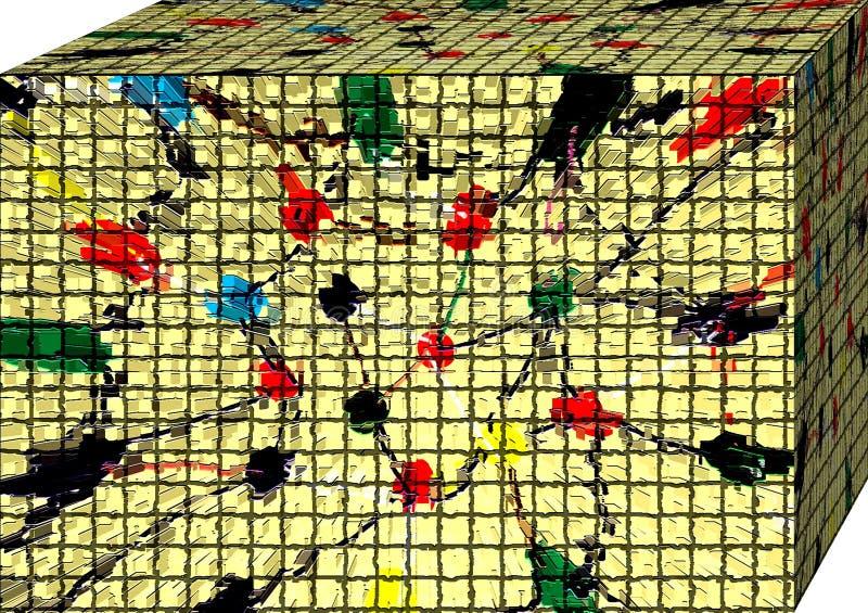 En ask av abstraktionfärger cubism vektor illustrationer