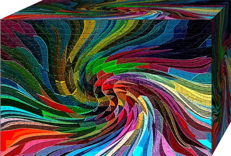 En ask av abstraktionfärger cubism royaltyfri illustrationer