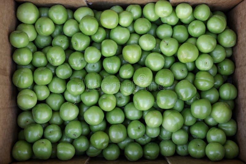 En ask av frukter för renkloplommoner som är till salu i en grönsak, shoppar arkivfoton