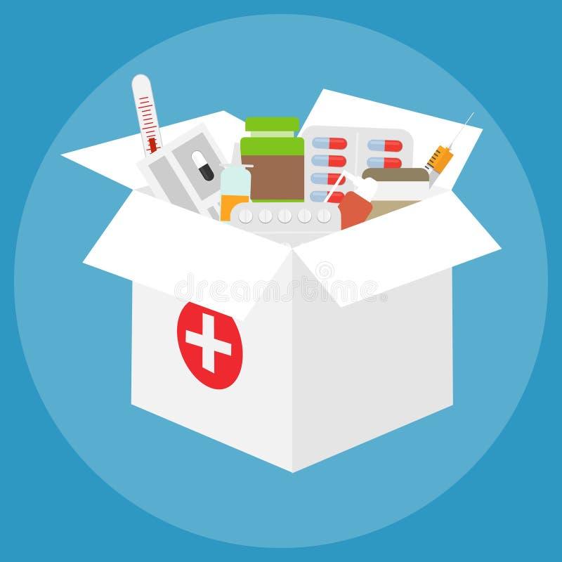 En ask av mediciner En stor vit ask med en uppsättning av mediciner vektor illustrationer