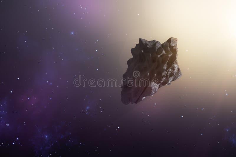 en asteroid i det djupa utrymmet royaltyfri illustrationer