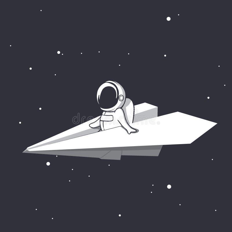 En astronaut flyger på ett pappers- flygplan vektor illustrationer
