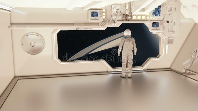 En astronaut på ett rymdskepp som håller ögonen på saturnen royaltyfri fotografi