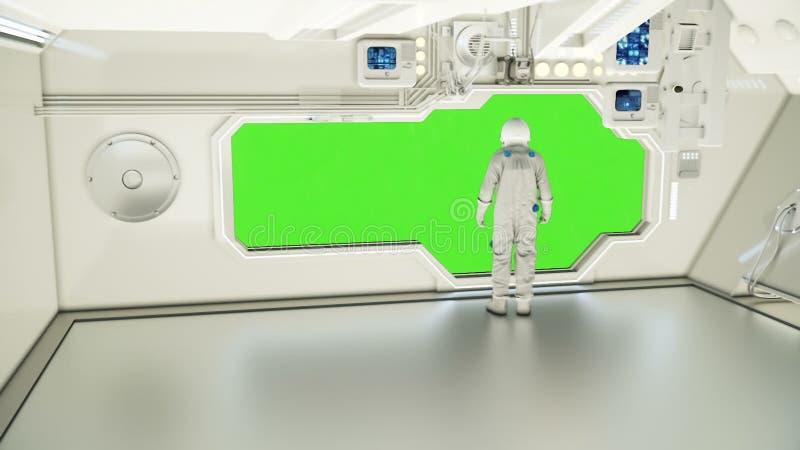 En astronaut på ett rymdskepp som håller ögonen på universumet royaltyfri illustrationer
