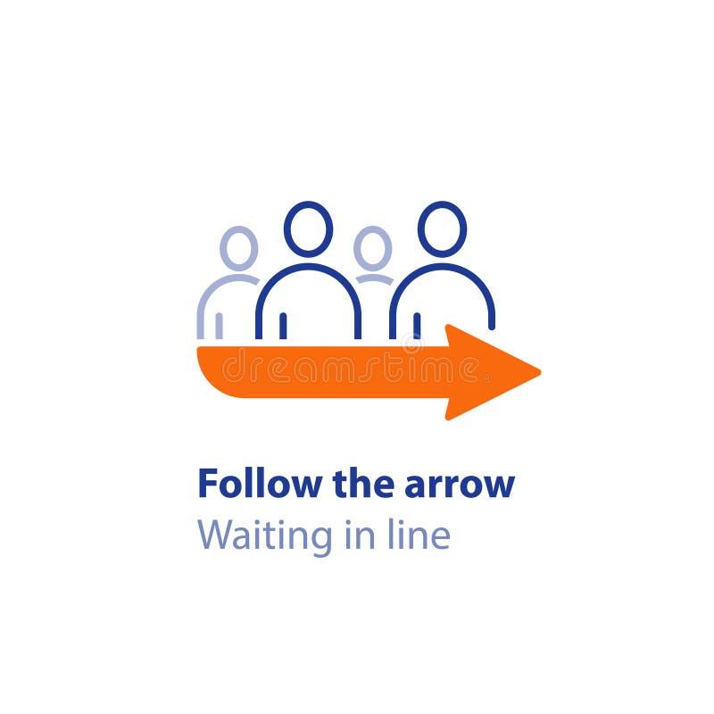 En attendant dans la ligne, se tenant dans la file d'attente, suivez le signe de flèche, indicateur de direction, icône de vecteu illustration de vecteur