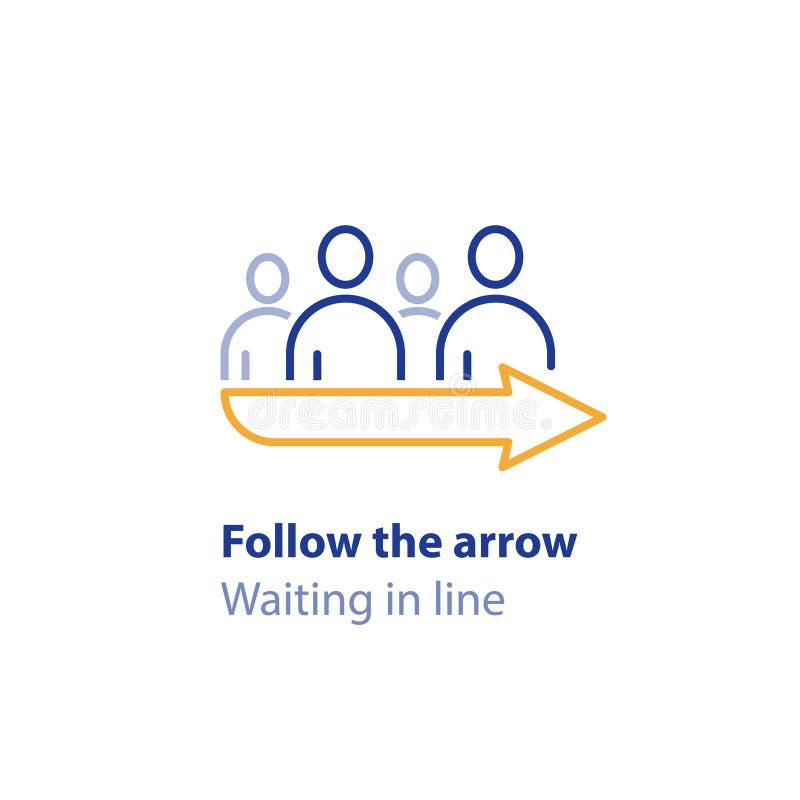 En attendant dans la ligne, se tenant dans la file d'attente, suivez le signe de flèche, indicateur de direction, icône de vecteu illustration libre de droits