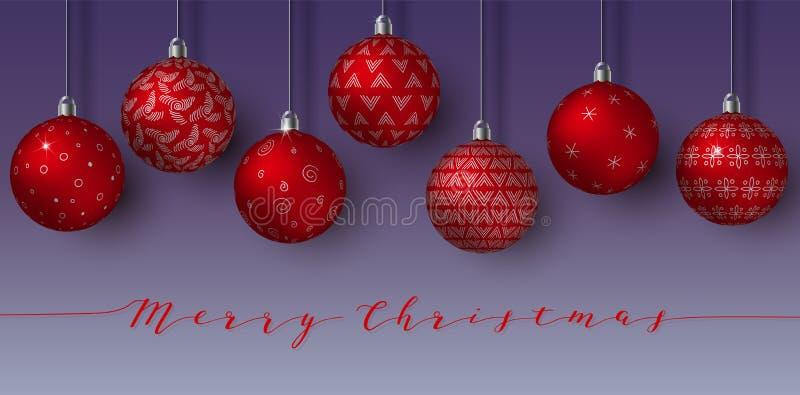 En attendant Noël rouge les boules ont isolé An neuf heureux sphères accrochantes avec différents ornements simples Fond de nuit illustration de vecteur