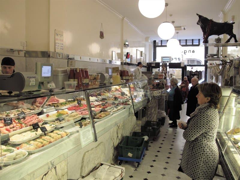 En av de bästa slaktarna shoppar i Rome arkivfoto