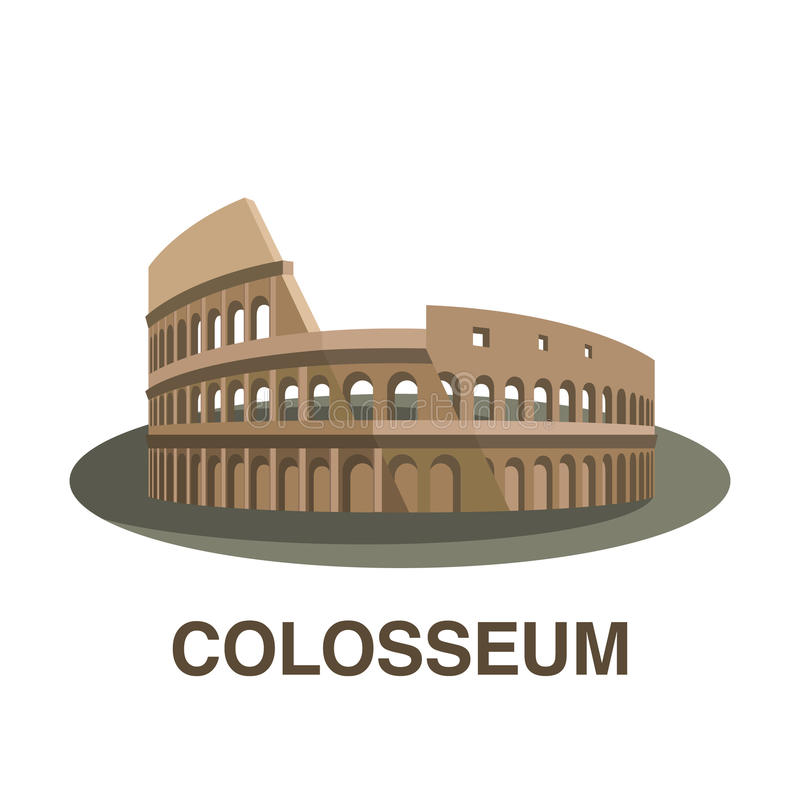 En av nya 7 under av världen: Colosseum stock illustrationer
