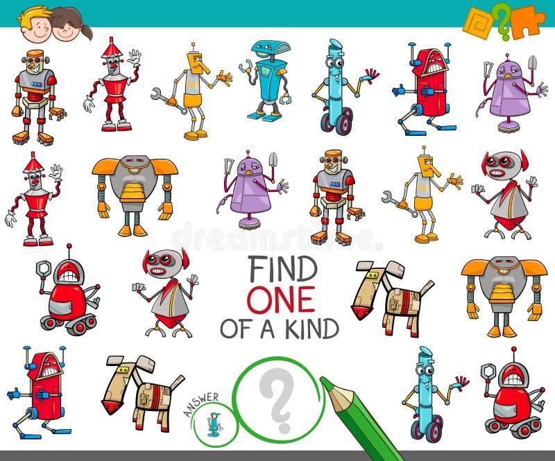 En av en snäll lek med robotfantasitecken stock illustrationer