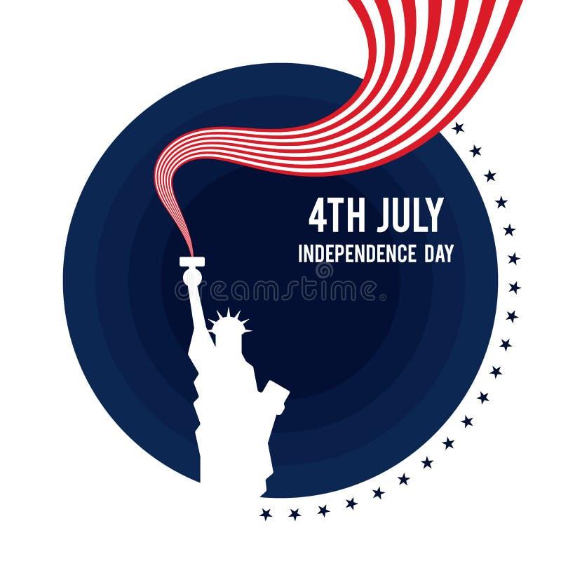 En avant de juillet, affiche de Jour de la Déclaration d'Indépendance des Etats-Unis d'Amérique illustration libre de droits