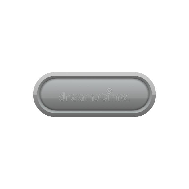 En avlång universell knapp i grå färger vektor illustrationer