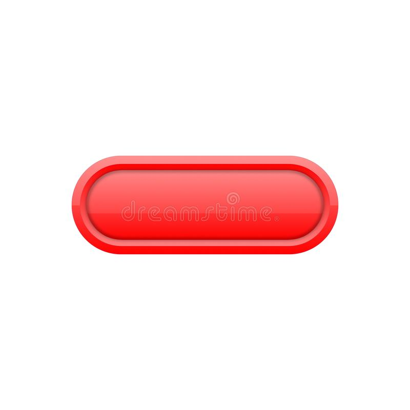 En avlång universell knapp i rött vektor illustrationer