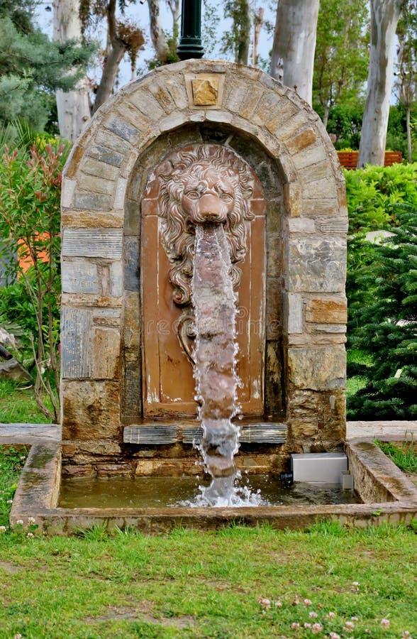En båge som göras av stenen med ett lejonhuvud från som vattenflöden arkivbilder