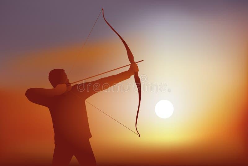 En bågskytt siktar och ansar hans pilbåge, innan han drar hans pil in mot hans mål vektor illustrationer
