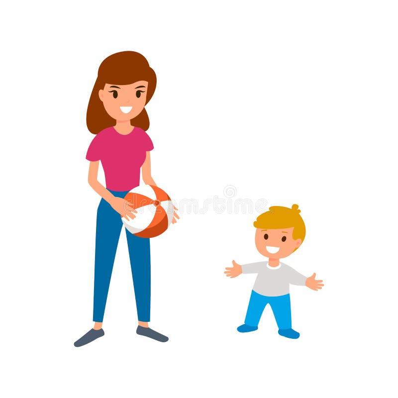 En babysitter eller en barnflicka spelar bollen med behandla som ett barn Isolerad illustration för vektor lägenhet på vit bakgru stock illustrationer