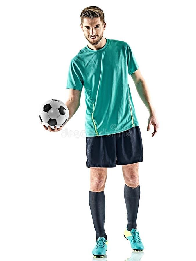 En bakgrund för man för fotbollspelare isolerad vit anseende royaltyfri bild