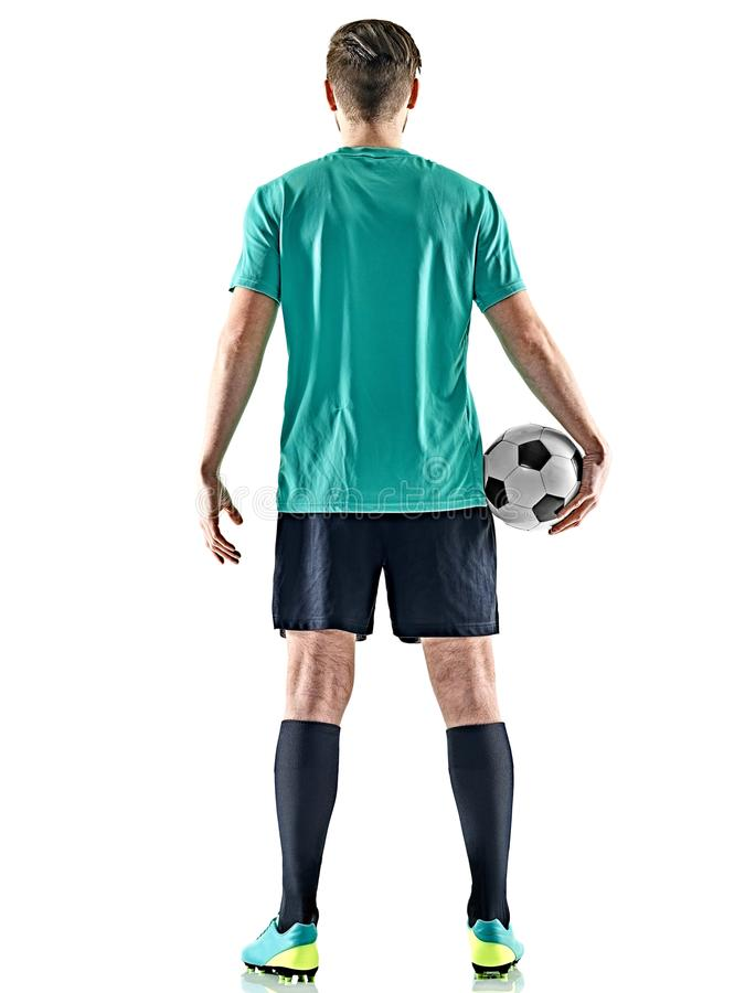 En bakgrund för man för fotbollspelare isolerad vit anseende royaltyfria bilder