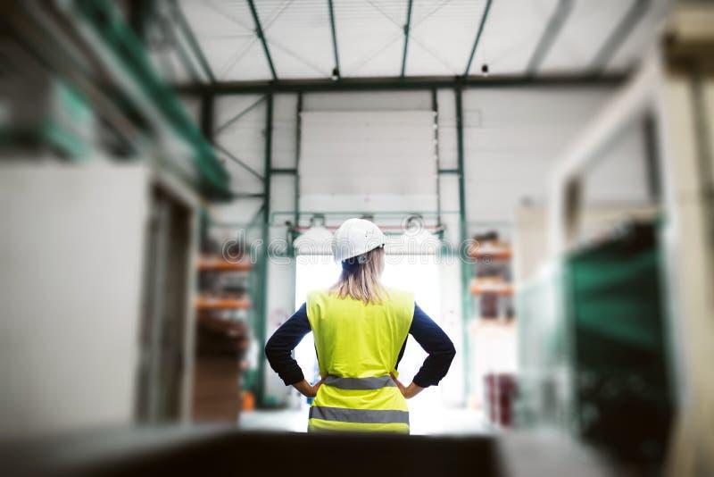En bakre sikt av ett industriellt kvinnateknikeranseende i en fabrik, armar på höfter arkivfoto