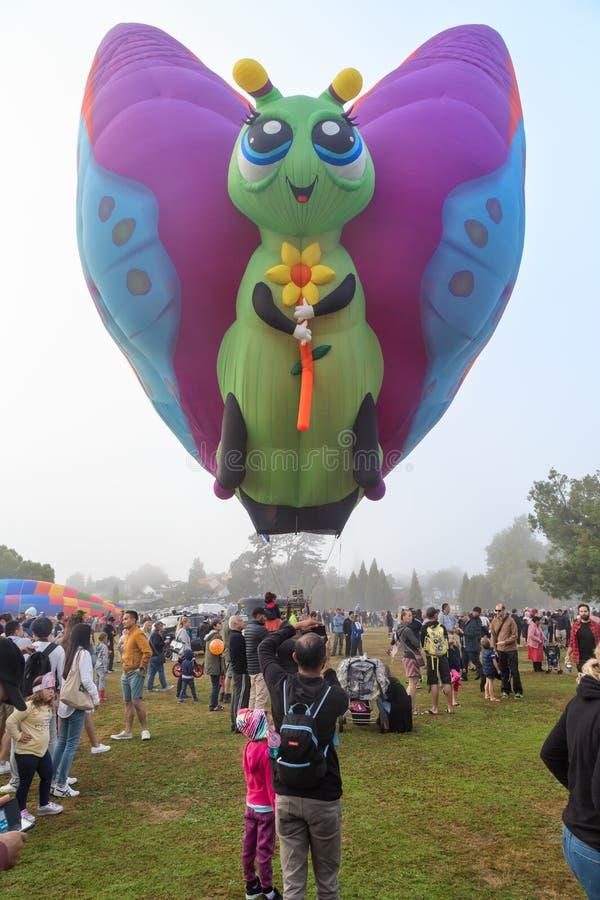 En ballong för varm luft i formen av en fjäril arkivbild