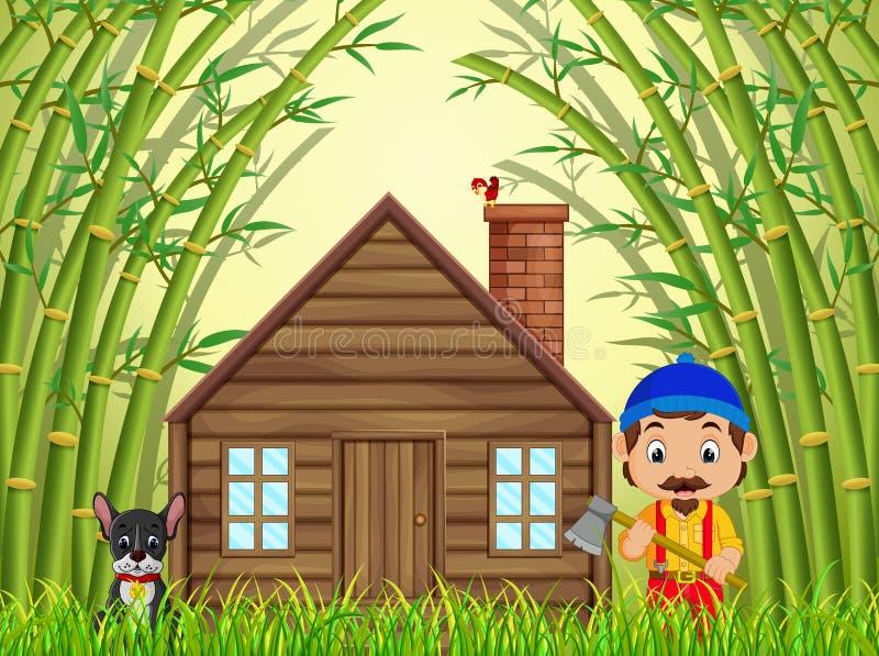En bambuskog med en lycklig skogsarbetare och hund stock illustrationer