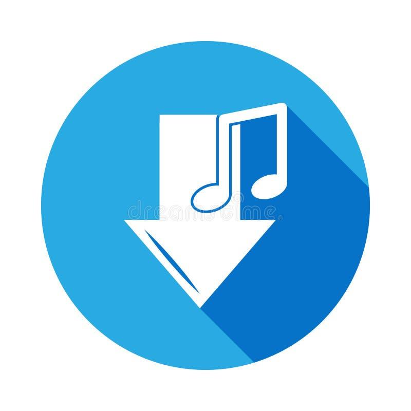 en bas de l'icône de flèche et de note avec la longue ombre Élément d'illustration de musique Signe de la meilleure qualité de co illustration libre de droits