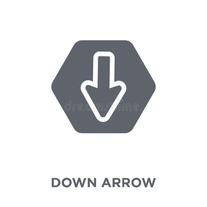En bas de l'icône de flèche de la collection illustration stock