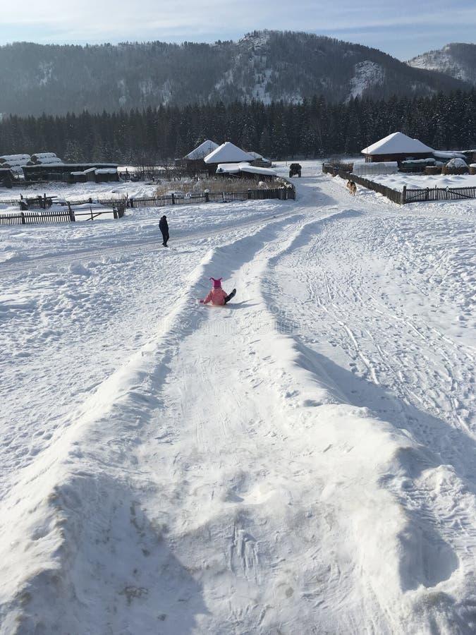 En bas de la colline de glace photo libre de droits