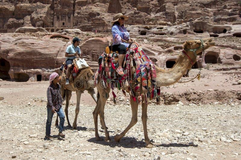 En beduin som pojken går bredvid en grupp av turister som rider kamel till och med det forntida, fördärvar av Petra i Jordanien arkivbild