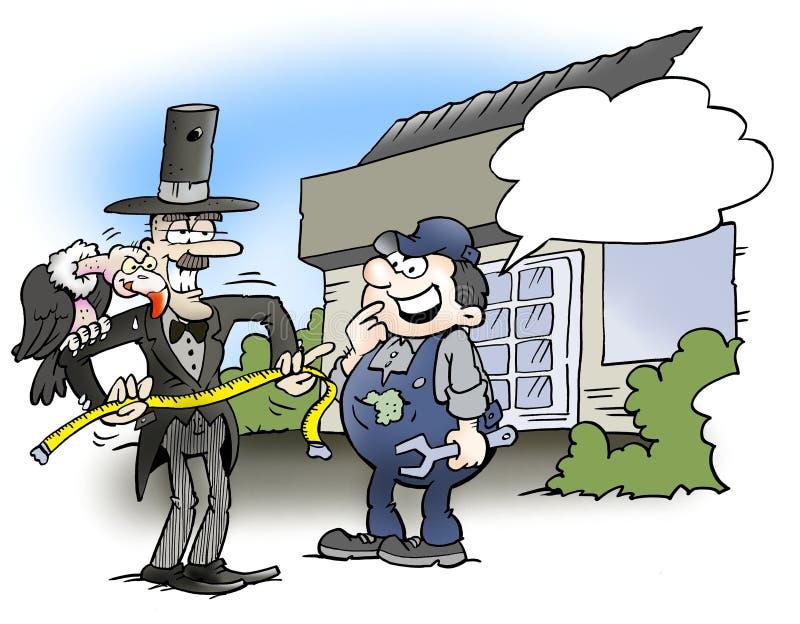 En begravningsentreprenör som söker efter ett jobb i ett garage royaltyfri illustrationer
