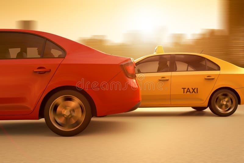 En begreppsm?ssig bild av ett lopp mellan en vanlig taxi och en app baserade service vektor illustrationer