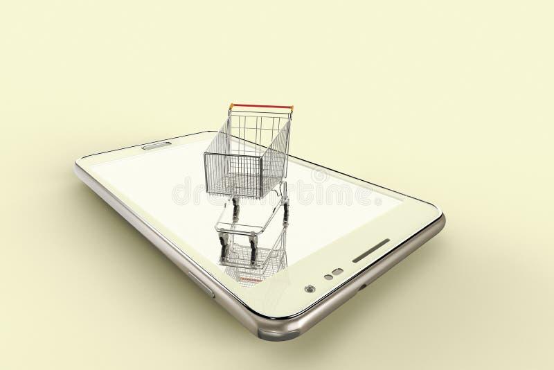 En begreppsmässig bild av online-shopping med mobila enheter vektor illustrationer