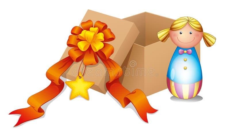 En behandla som ett barn - docka med en ask stock illustrationer