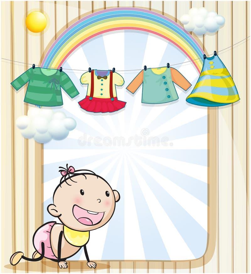 En behandla som ett barnflicka med hängande kläder stock illustrationer