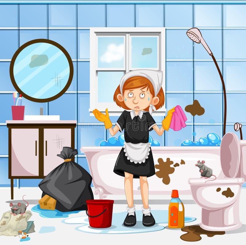 En bekymrad hembiträde Cleaning Toilet fotografering för bildbyråer