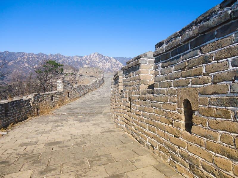 En bevarad del av den stora väggen under slutet av vintern fotografering för bildbyråer