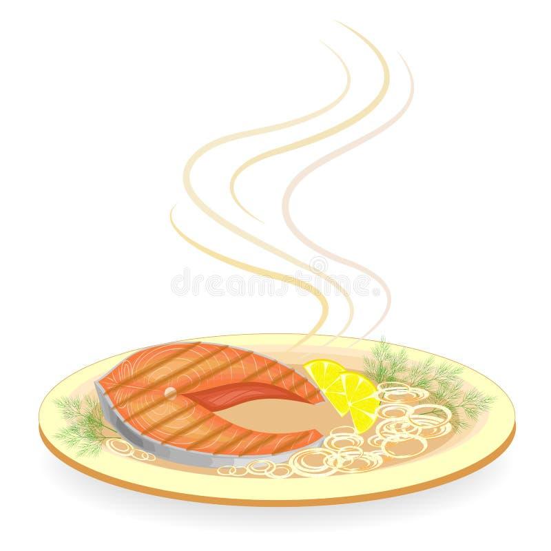En biff av den r?da fisken som grillas p? en platta Garnera varma stekte lökar, citronskivor och dillgräsplaner Smakligt, läckert royaltyfri illustrationer