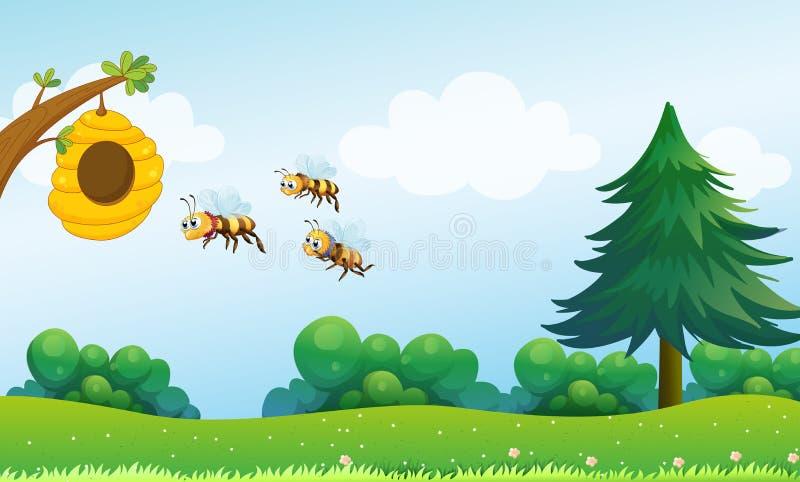 En bikupa ovanför kullen med tre bin vektor illustrationer