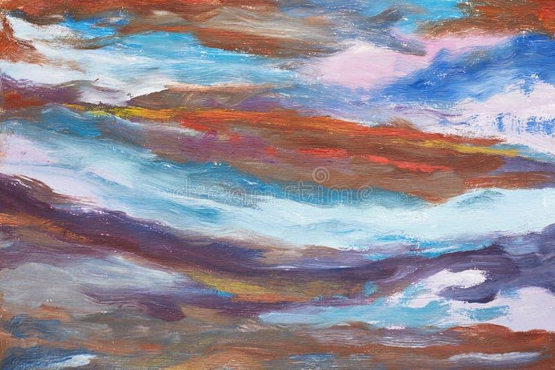 En bild av abstrakta vågor Hand dragen olje- målning Ett arbete av målaren Ett landskap av vatten Olje- målning för färgrik bakgr stock illustrationer