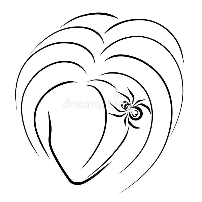 En bild av en flicka med en spindel på hennes huvud, skissar i svart vektor illustrationer