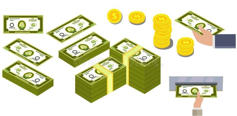 En bild av tecknad filmdollar, en hög av dollar, dollar kommer ut ur ATMEN, handen rymmer dollar dollar i mynt stock illustrationer