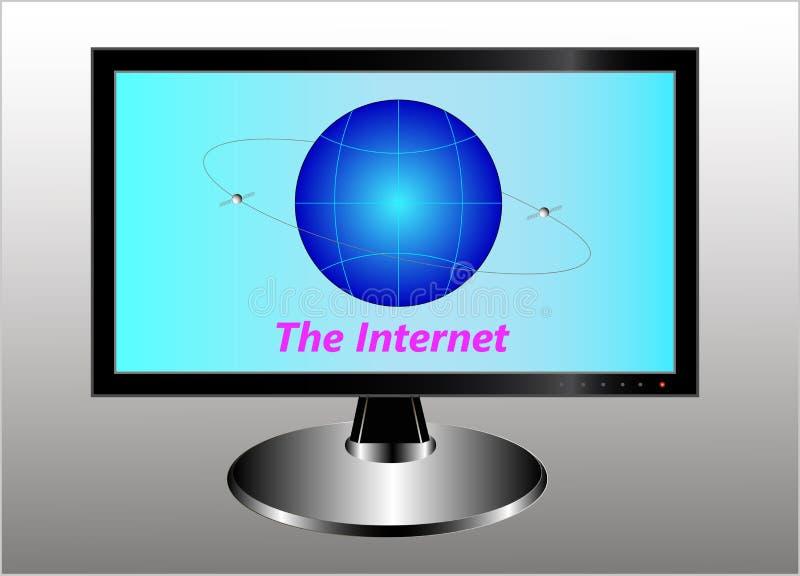 En bildskärm med ett symboliskt jordklot, två kommunikationssatelliter i den geostationära omloppet och en inskriftinternet stock illustrationer
