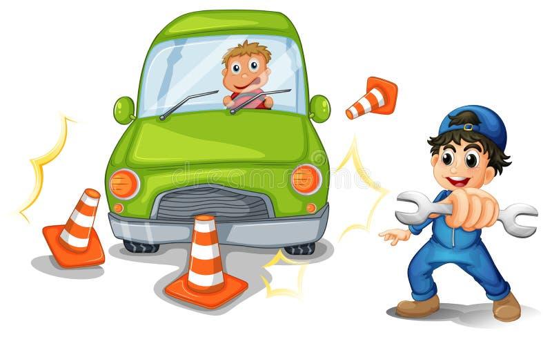 En bilolycka och en mekaniker stock illustrationer