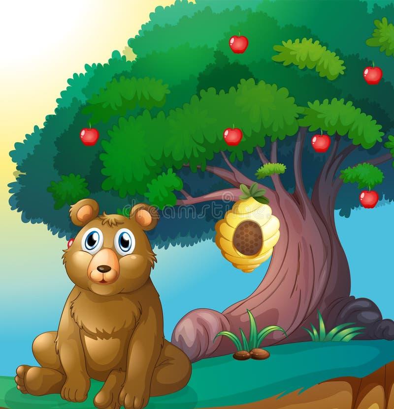 En björn framme av ett stort äppleträd med en bikupa stock illustrationer