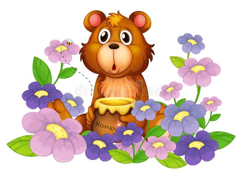 En björn som rymmer en honung i blommaträdgården vektor illustrationer