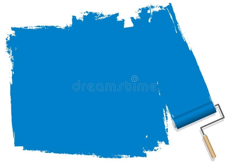 En blå bakgrund som målas med en rulle royaltyfri illustrationer