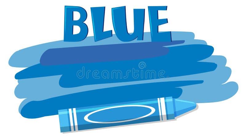 En blå färgpenna på vit bakgrund royaltyfri illustrationer