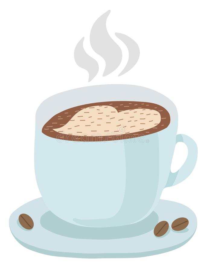 En blå kopp med ett tefat av varmt kaffe och en hjärtamodell Ånga över varmt kaffe, kaffebönor Vektor isolerad illustration på w royaltyfri illustrationer