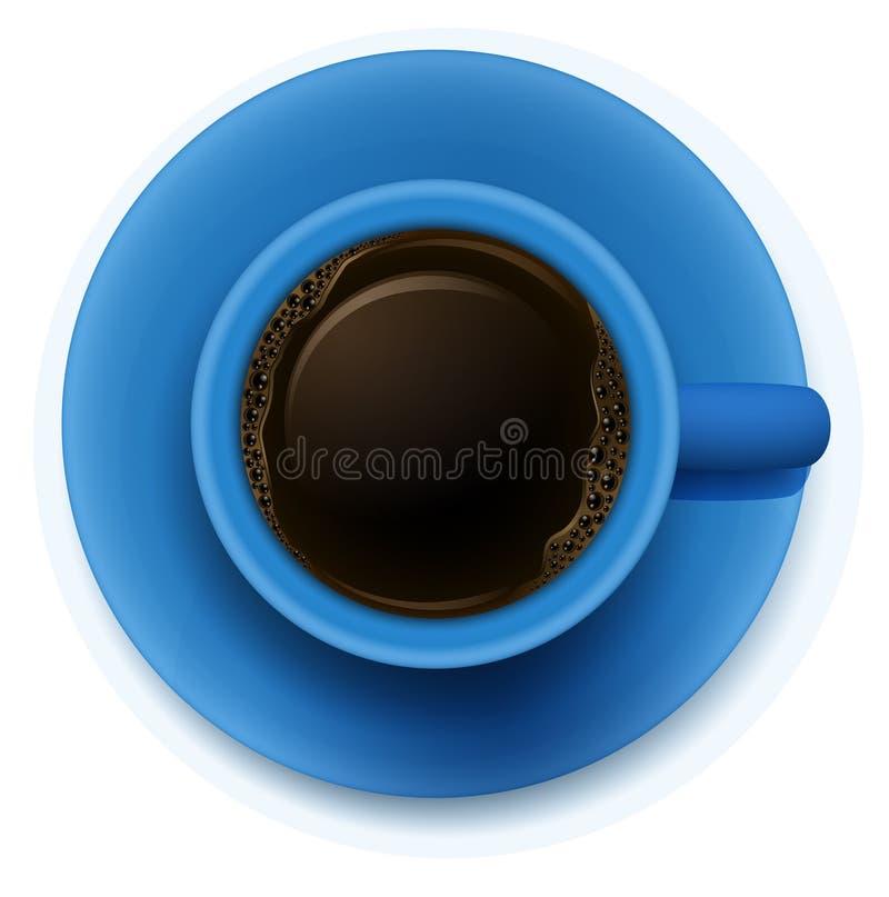 En blå kopp med kaffe vektor illustrationer
