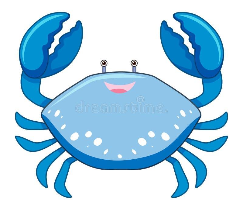 En blå krabba för tecknad film på vit bakgrund stock illustrationer